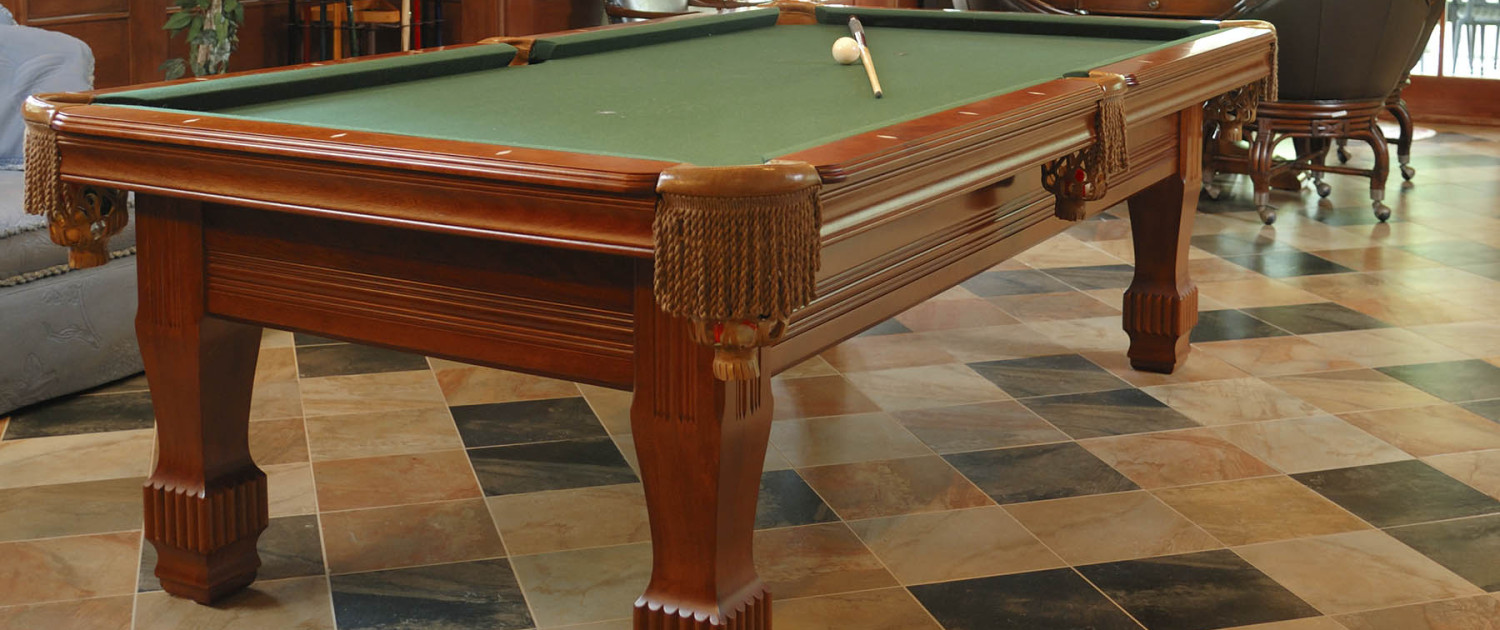 pool table on tile floor
